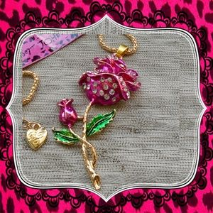 Betsey Johnson Rose Pink Crystal Flower Pendant